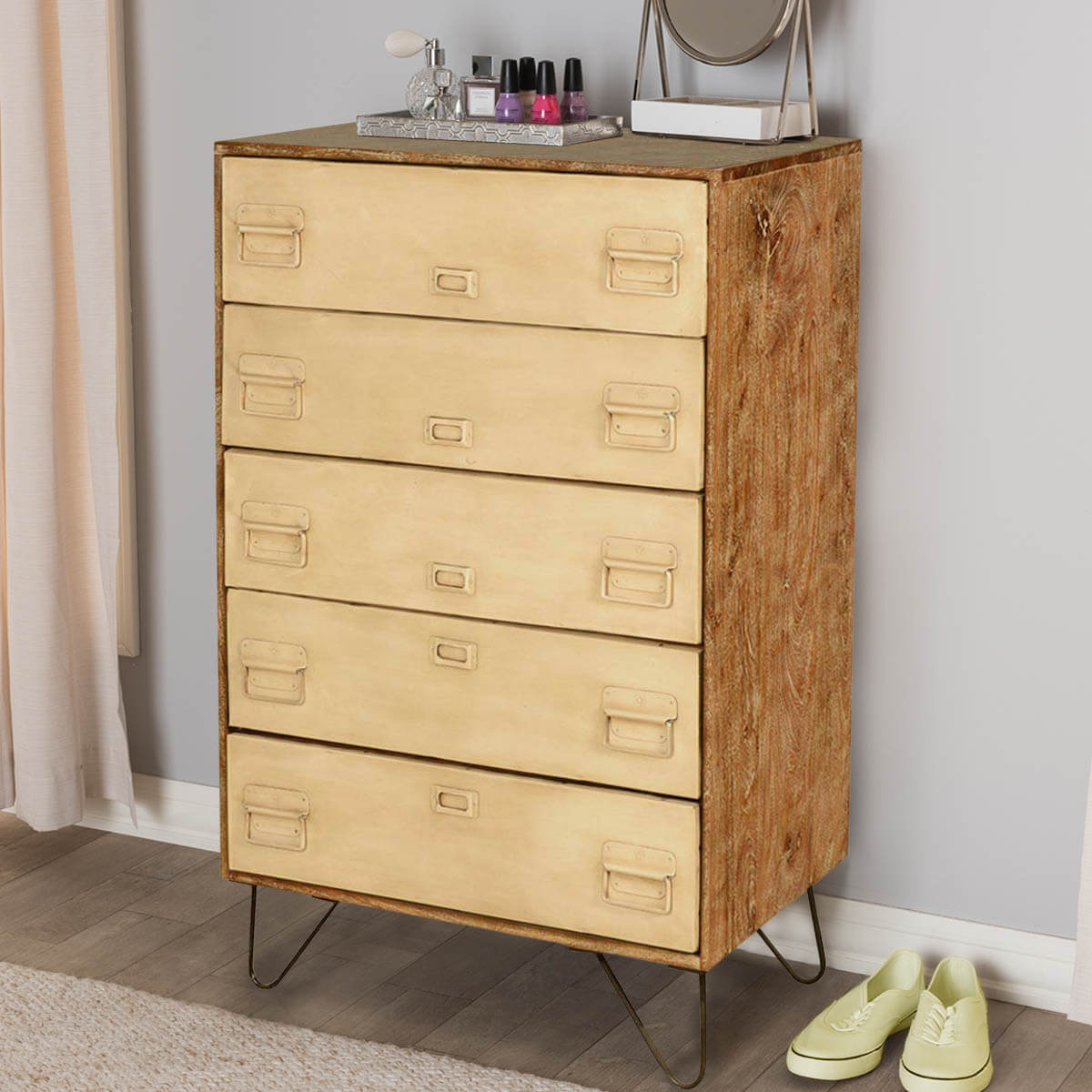 Holland Industrial File Cabinet Mango Wood 5 Drawer Dresser. Hover To Zoom