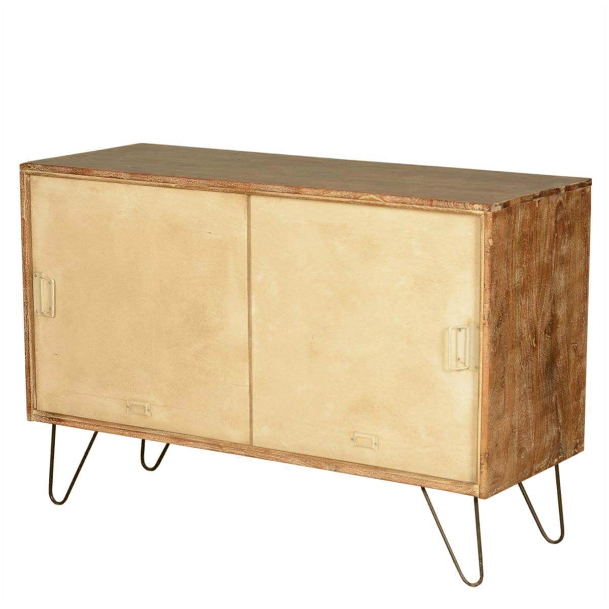 Industrial Mango Wood & Iron Office Cabinet Doors Console Cabinet
