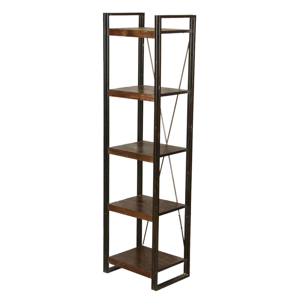 Industrial 5-Shelf Mango Wood & Iron 79 Open Side Tower