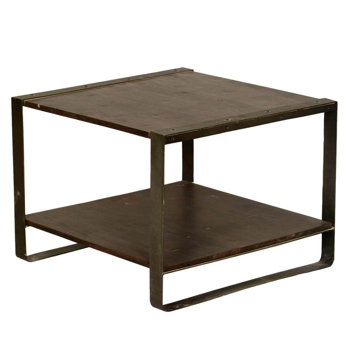 Industrial Mango Wood & Iron 2-Tier Square End Table