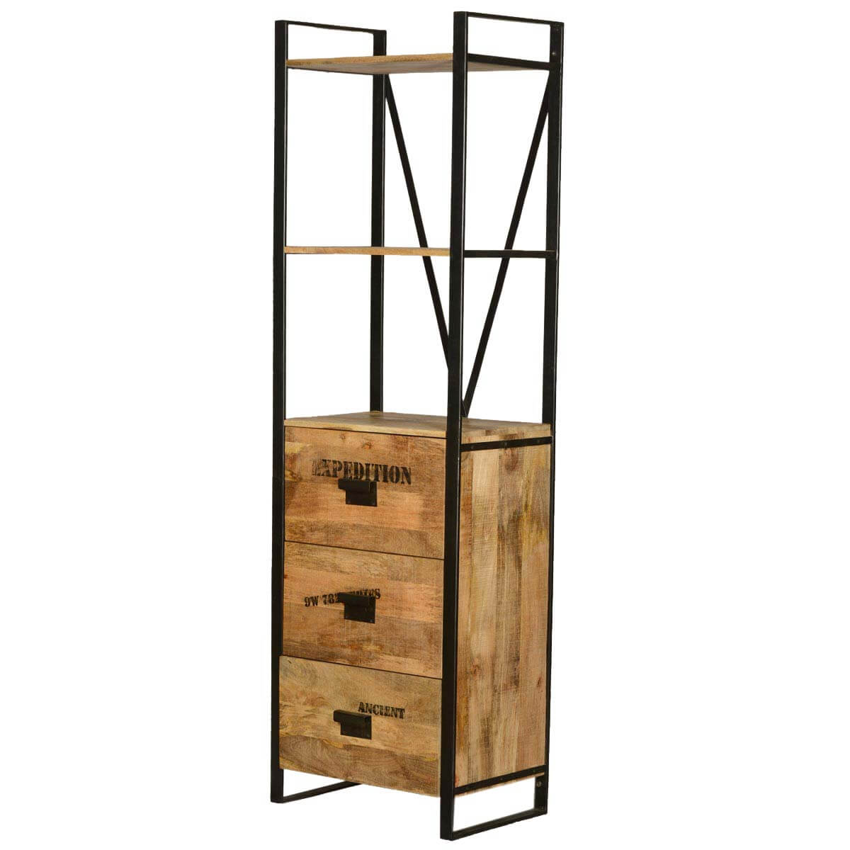 Hermosillo 3 Open Shelf Industrial Tower Bookcase With Drawers