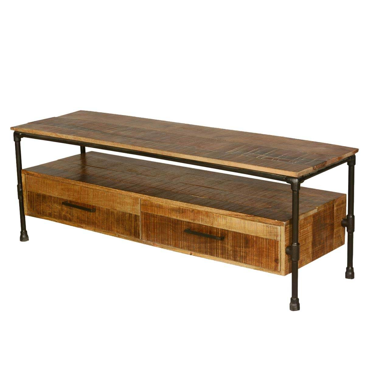 Holt Industrial Iron Pipe & Mango Wood 2 Drawer TV Media Stand