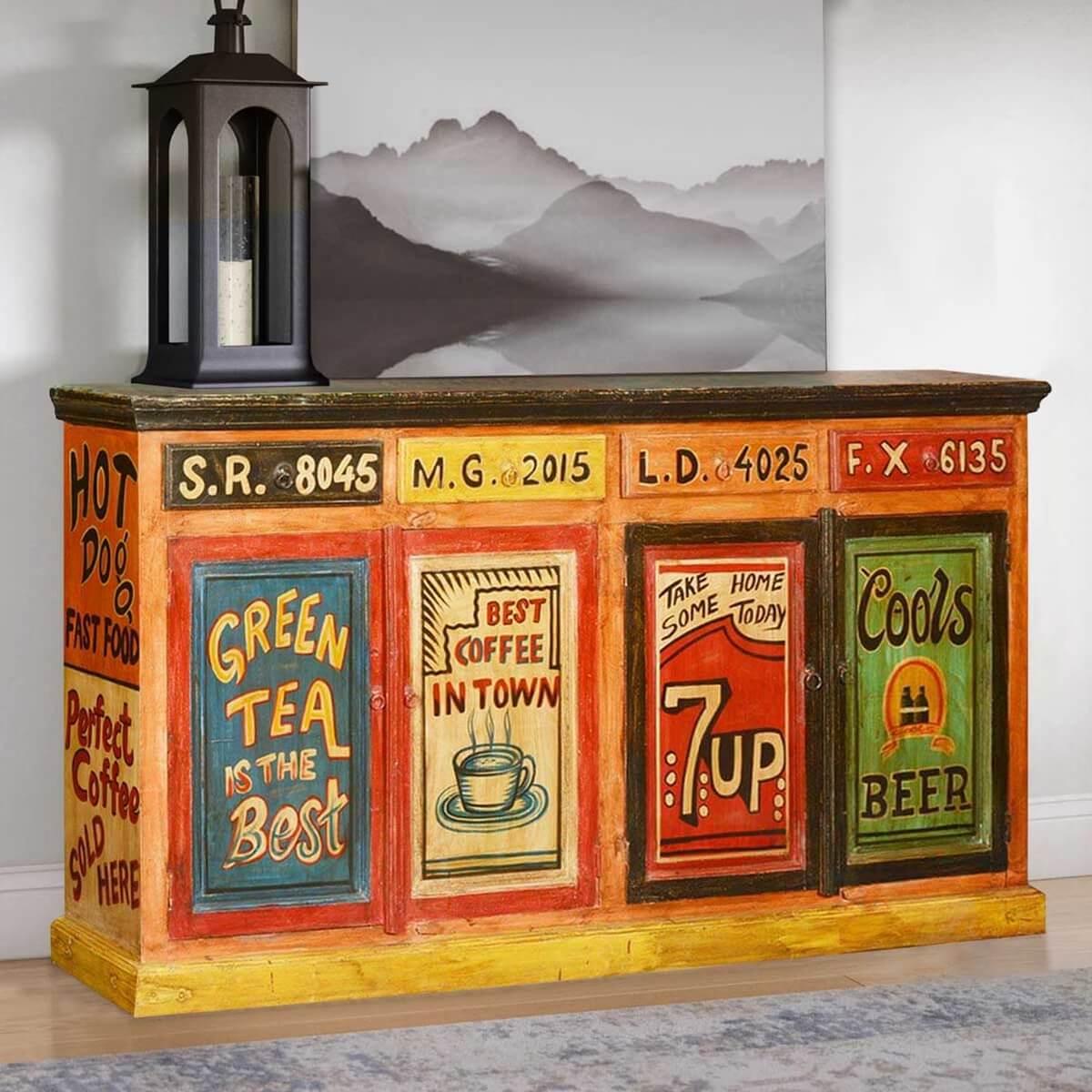 Malvern Pop Art Painted Mango Wood 4 Drawer Large Sideboard Cabinet