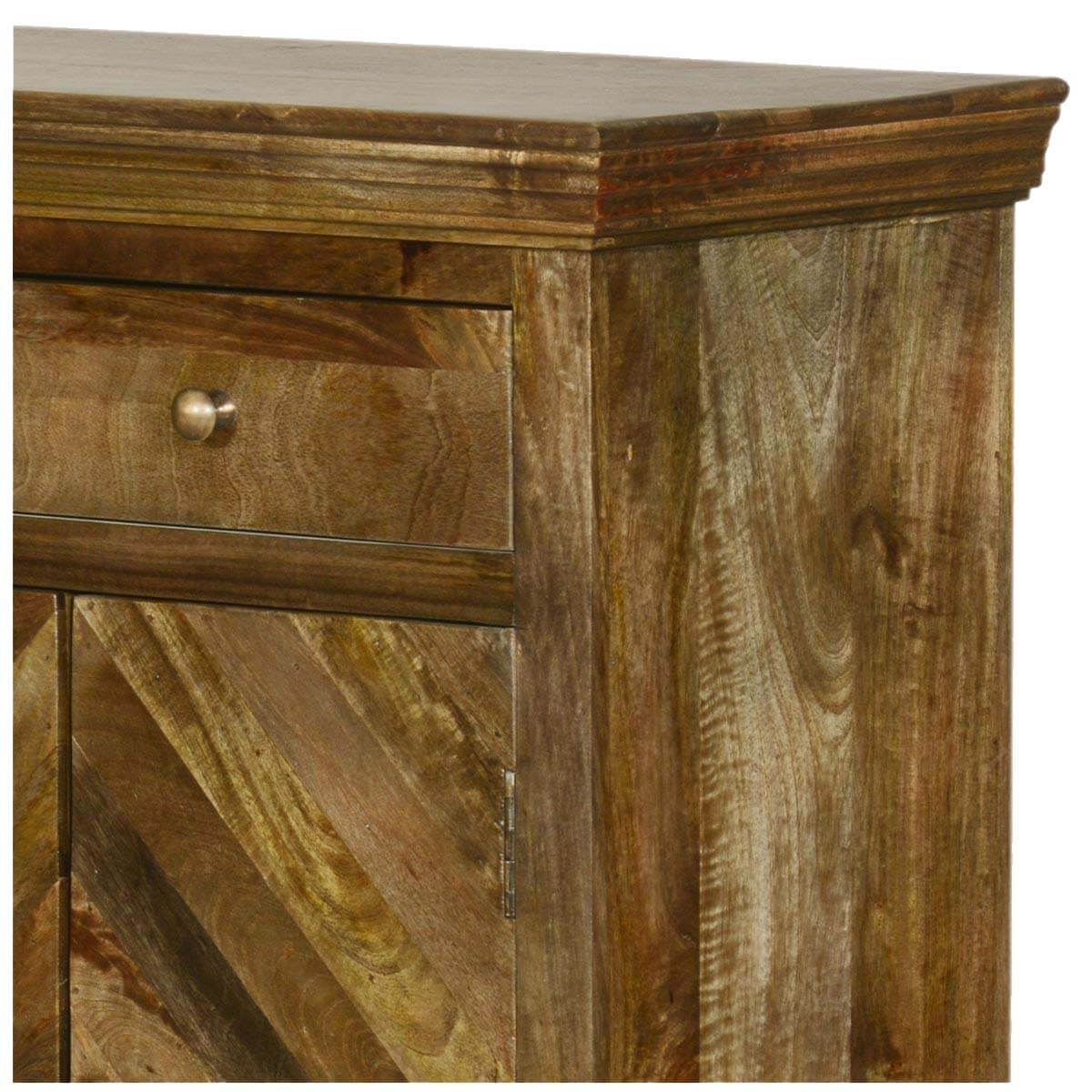 Parquet Diamond Mango Wood 3 Drawer Tall Sideboard Cabinet