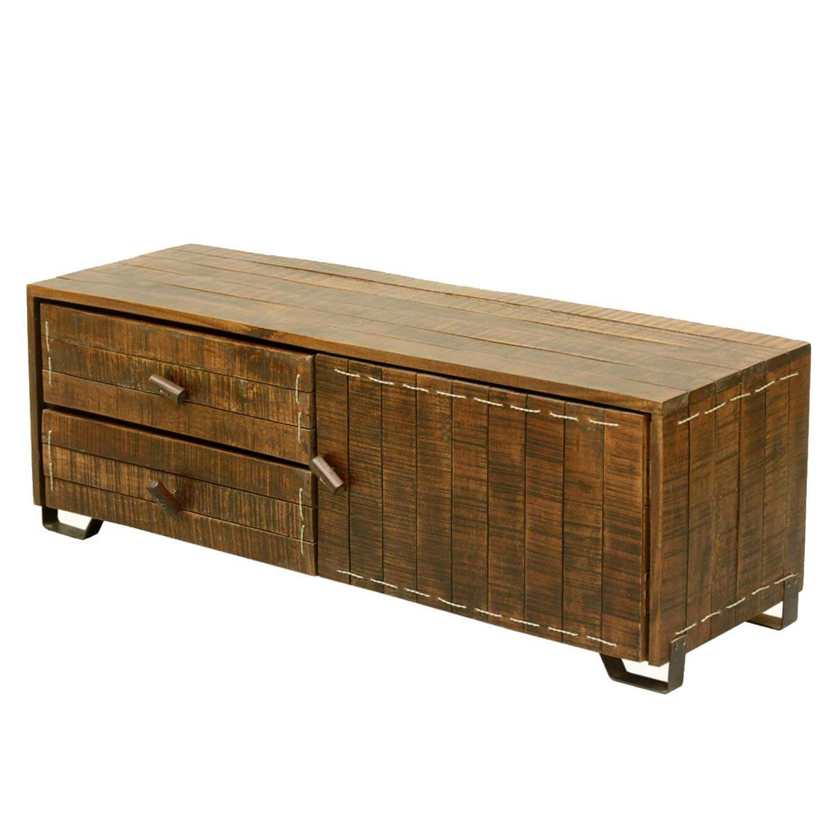 Modern Scholar Reclaimed Wood Industrial Media Console Cabinet