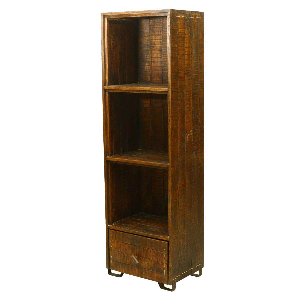 Reynosa 3 Open Shelf Reclaimed Wood Tall Narrow Bookcase With Drawer