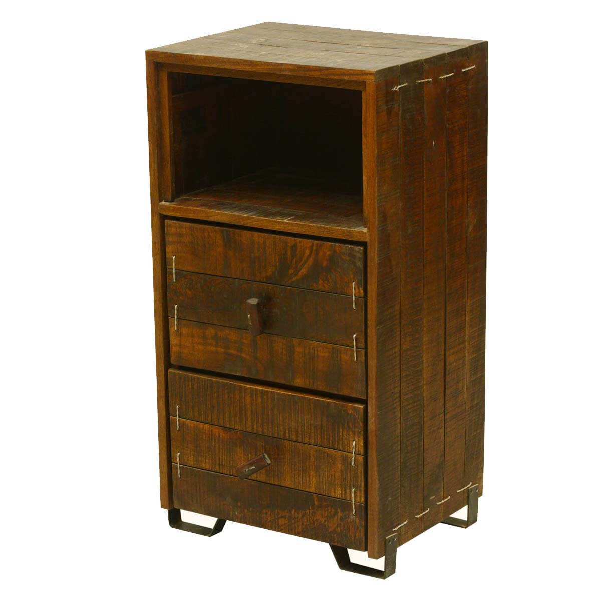 Modern Scholar Reclaimed Wood 2-Drawer Nightstand w Open Shelf