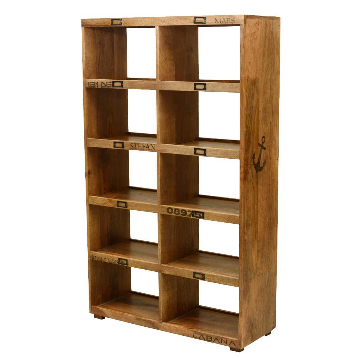 Brampton 10 Open Shelf Rustic Solid Wood Cube Bookcase