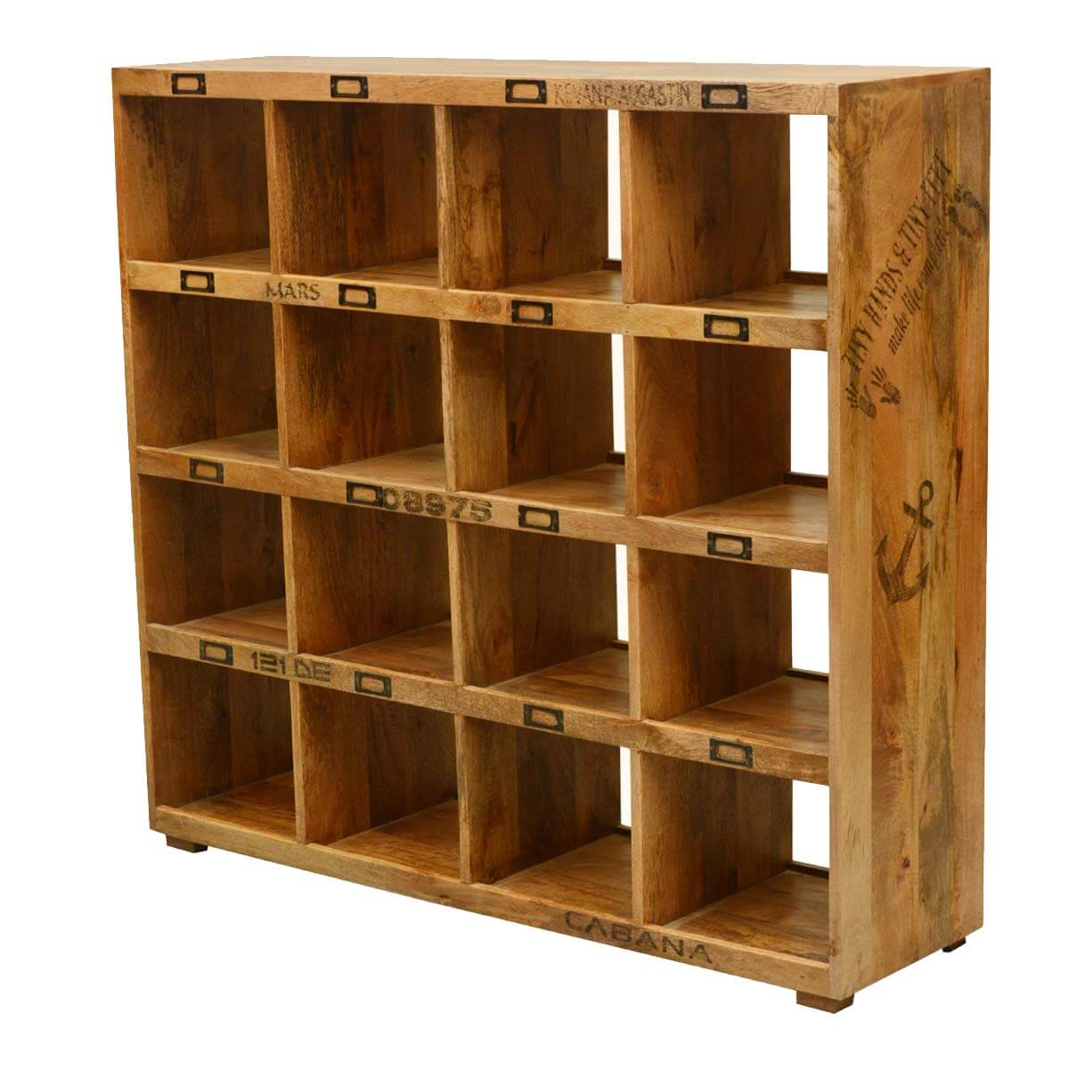 Milwaukee 16 Open Shelf Rustic Solid Wood Cube Bookcase