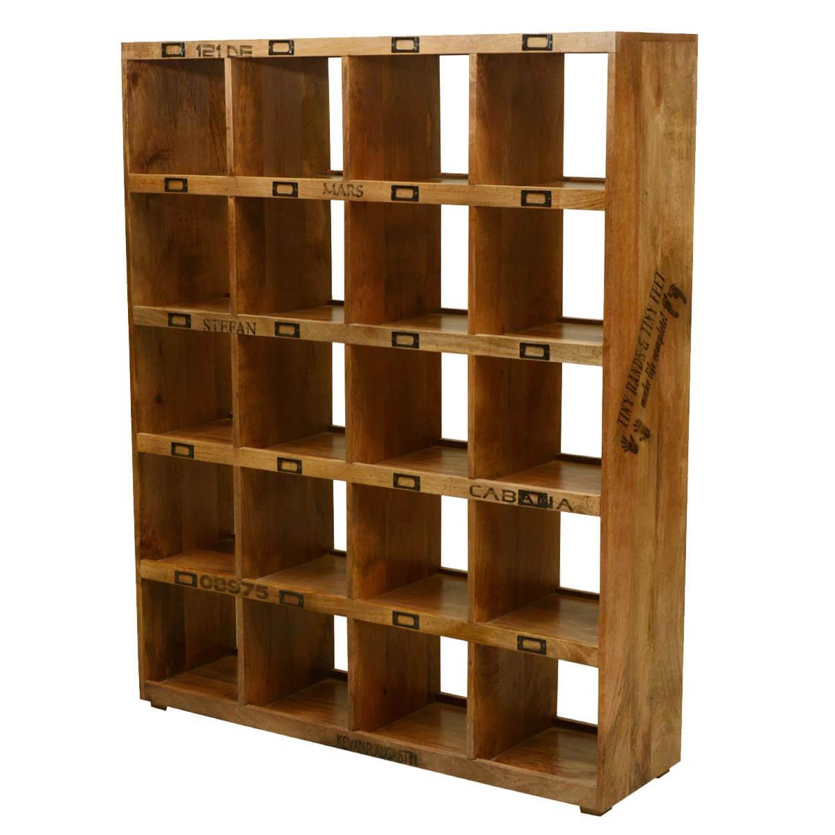 Surrey 20 Open Shelf Rustic Solid Wood Cube Bookcase