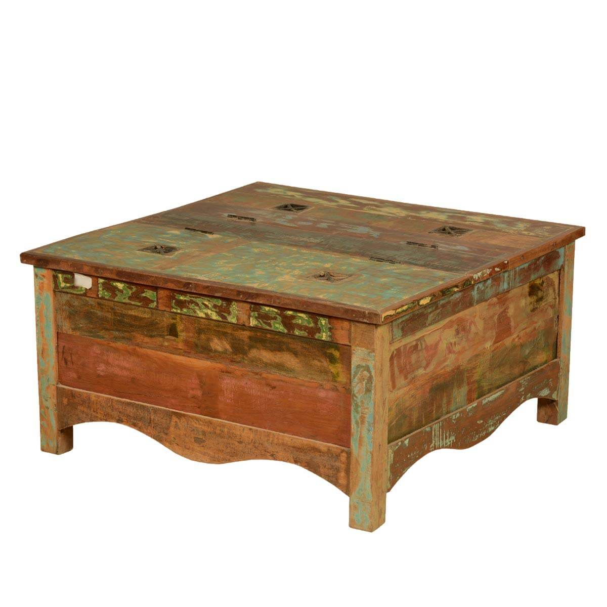 Boelus Rustic Reclaimed Wood Square Double Top Coffee Table Chest