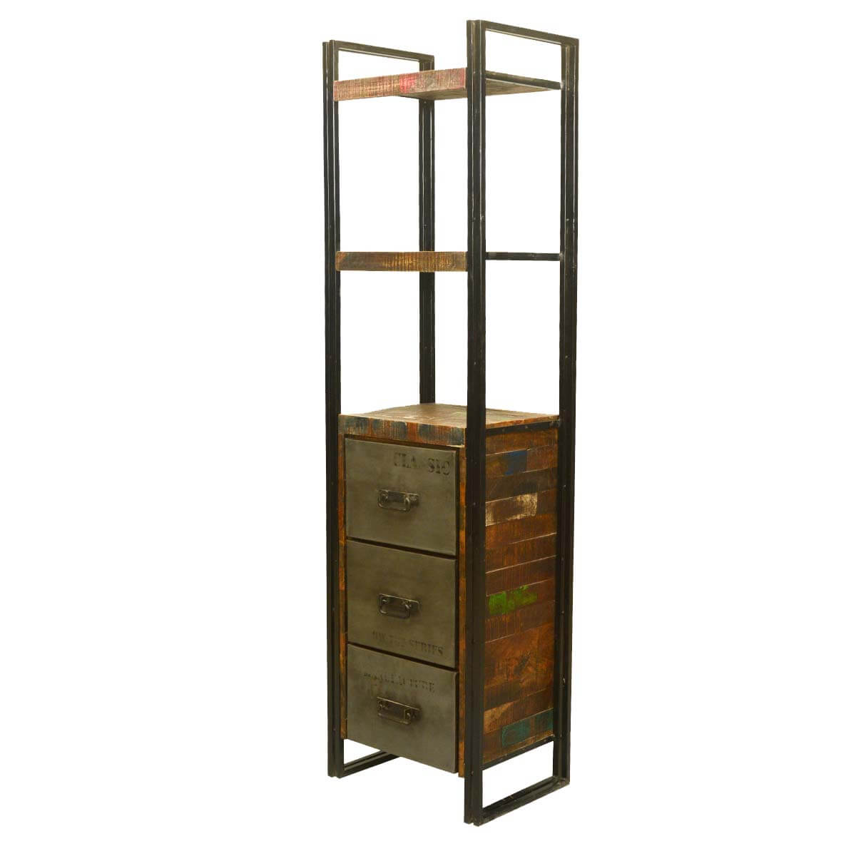 Rustic Industrial Reclaimed Wood & Iron Display Cabinet with Drawers