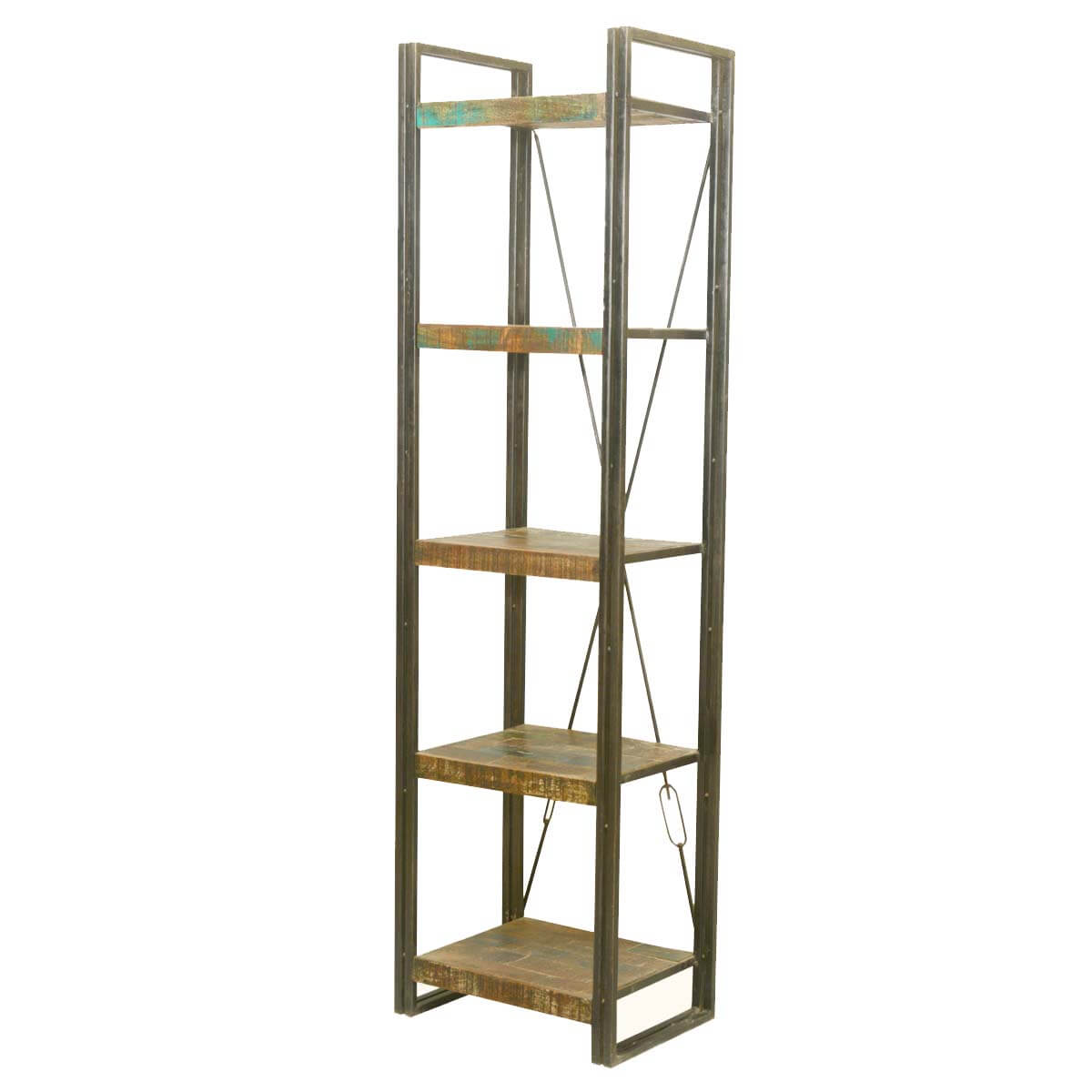 Foxfield 5 Open Shelf Rustic Reclaimed Wood Etagere Bookcase