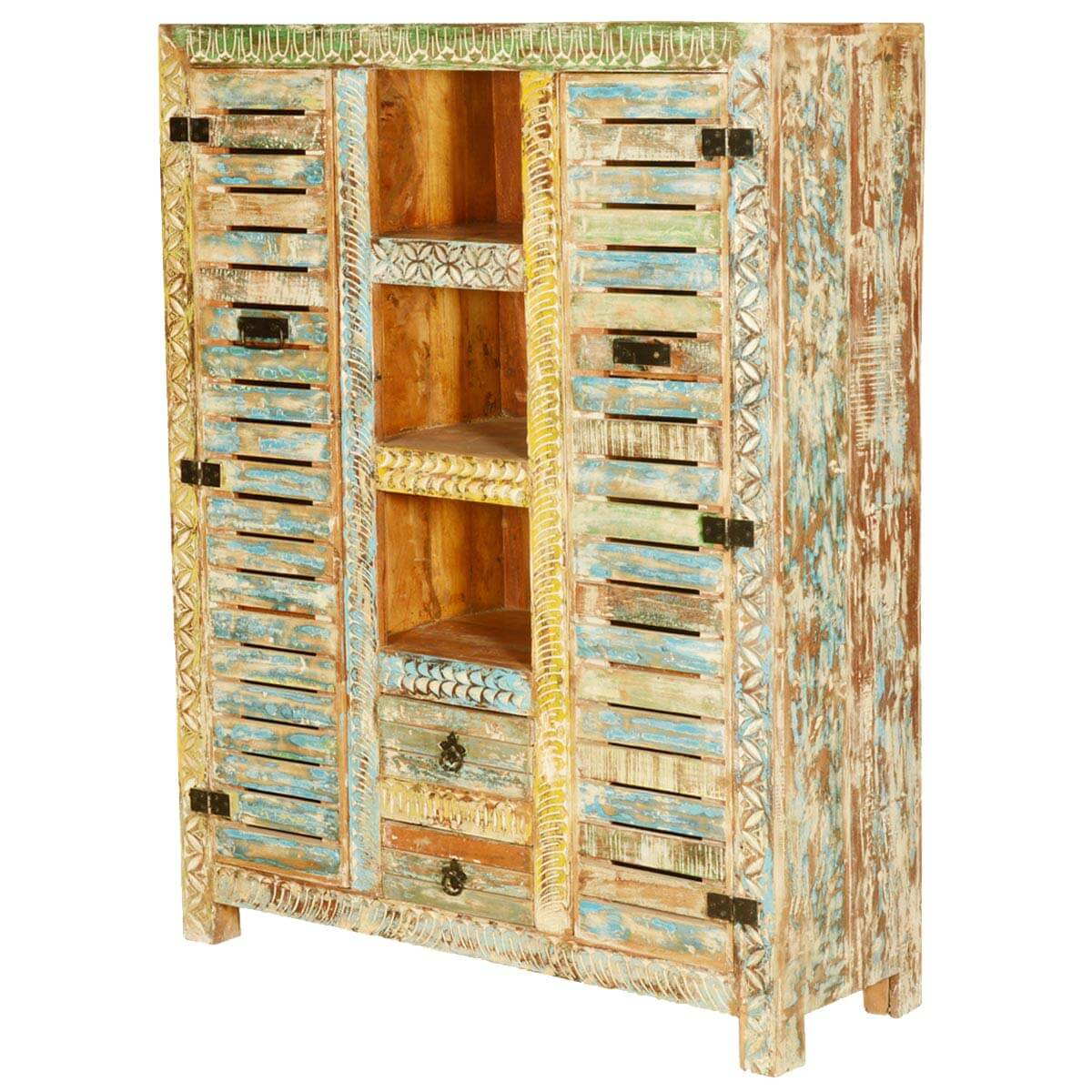 Millville Locker Doors Reclaimed Wood Hand Carved Wall Unit Cabinet