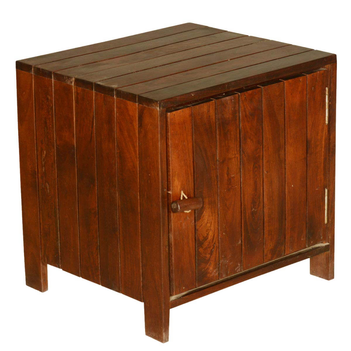 Zest Contemporary Standing Cube Solid Teak Wood End Table Cabinet