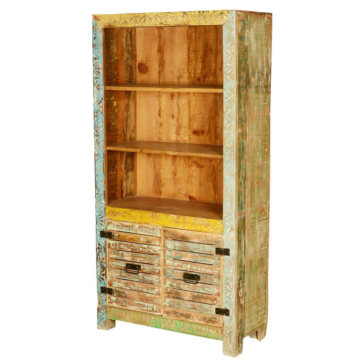 Saltillo 3 Open Shelf Rustic Reclaimed Wood Bookcase Hutch