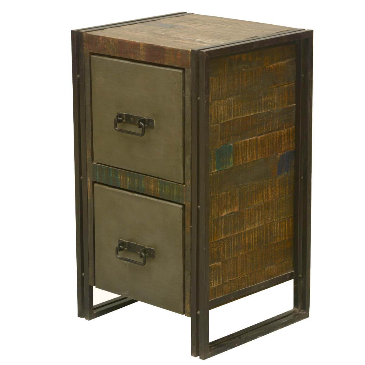 Halethorpe Fusion Reclaimed Wood 2 Drawer Industrial End Table
