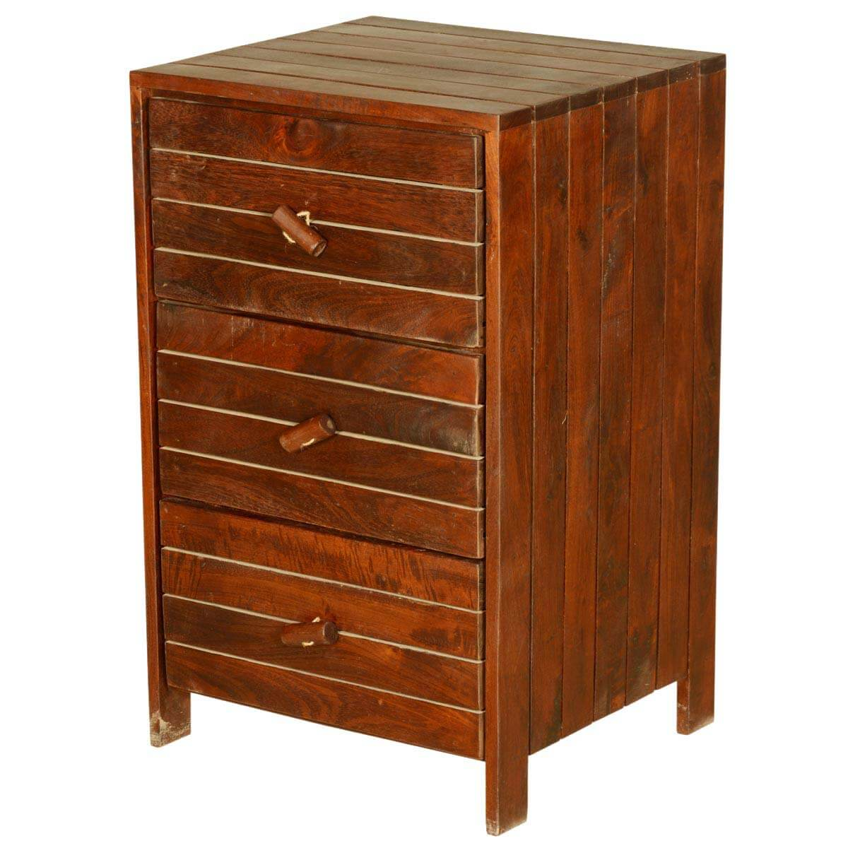 Parallel Lines Solid Teak Wood 3 Drawer End Table