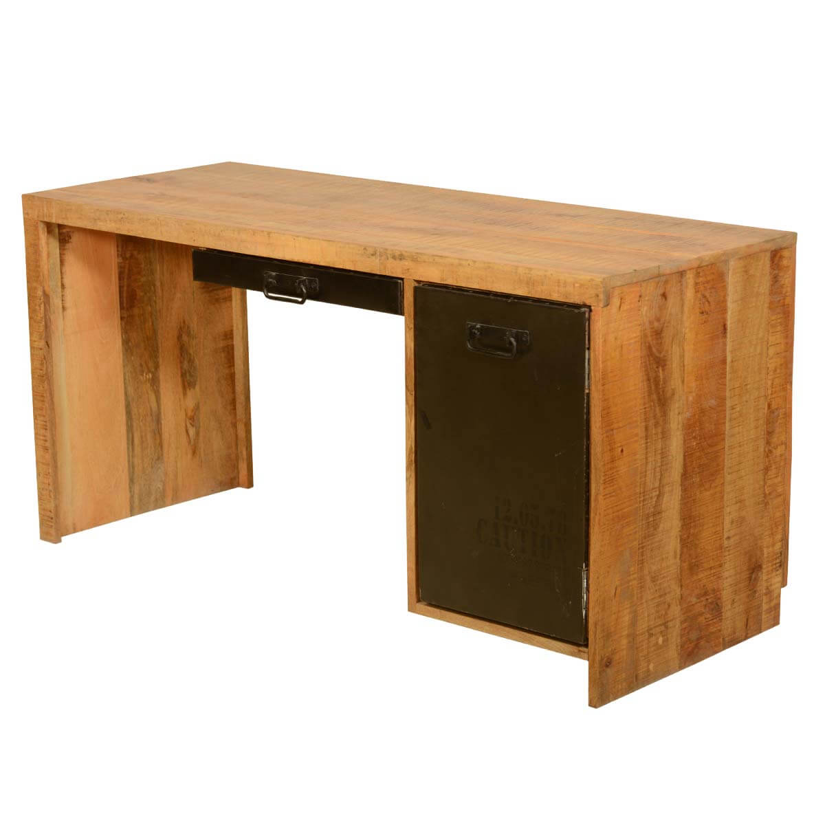 Computer Desk w Pull Out Keyboard Made of Acacia Wood & Iron