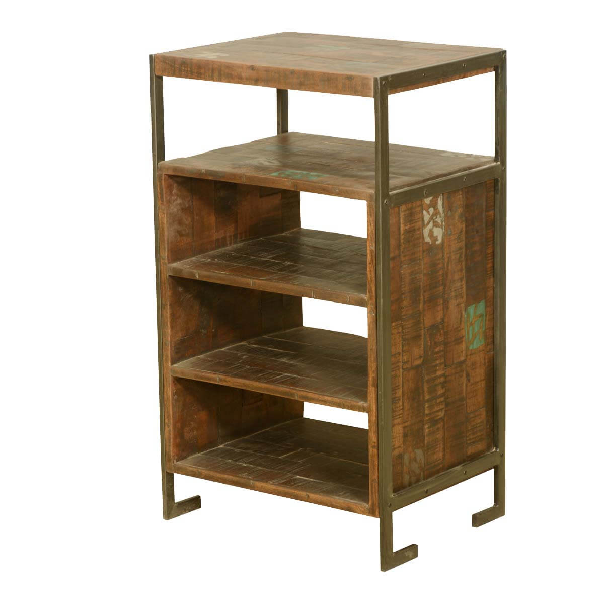 Rustic Reclaimed Wood Iron Frame 2 Tier End Table with 3 Shelves