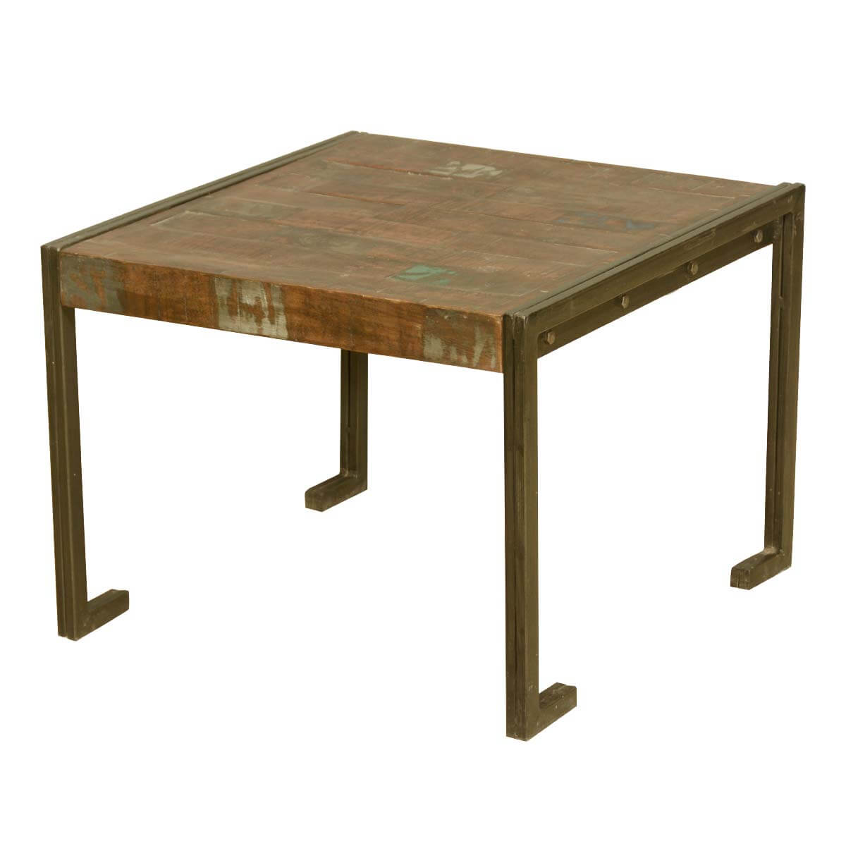 Drakensberg Old Reclaimed Wood Metal Frame Industrial Rustic End Table