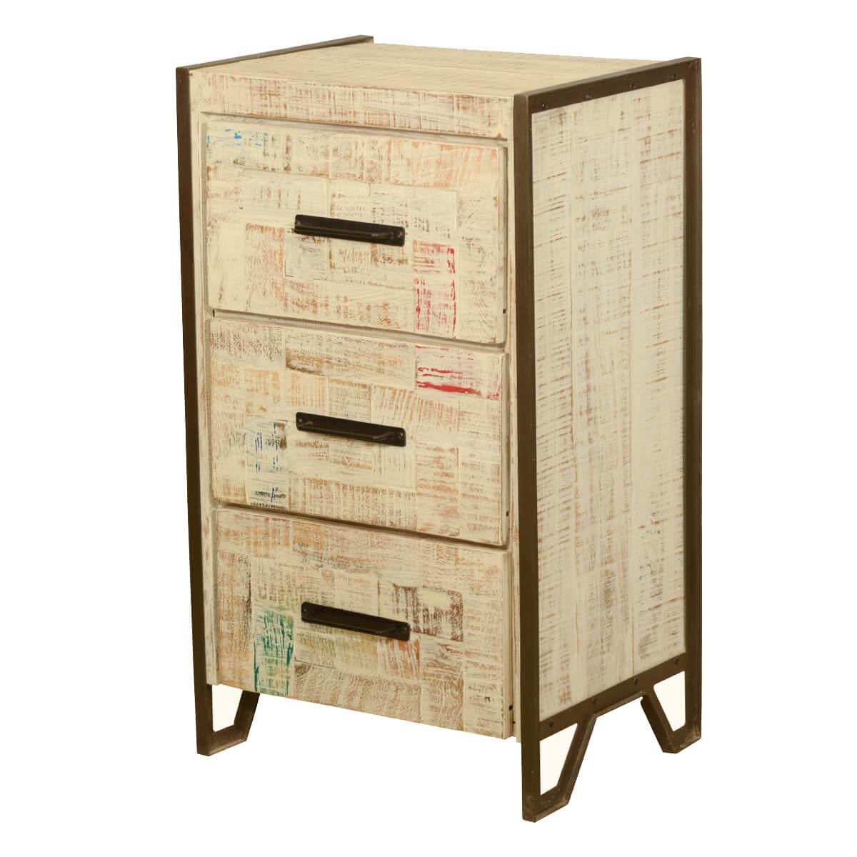 Industrial Fusion Reclaimed Wood 3 Drawer Nightstand