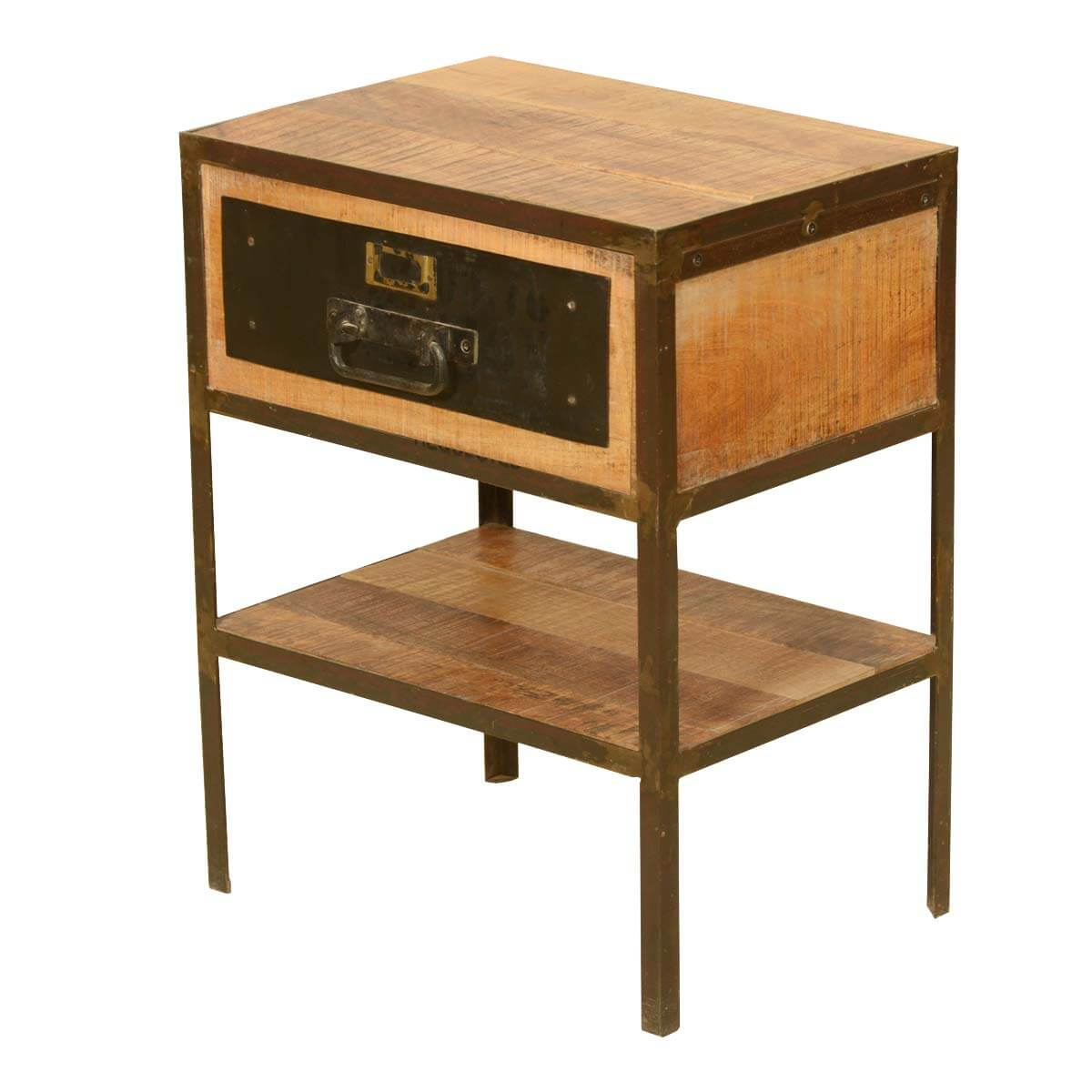 Belvidere Rustic Solid Wood 2 Tier 1 Drawer Industrial End Table
