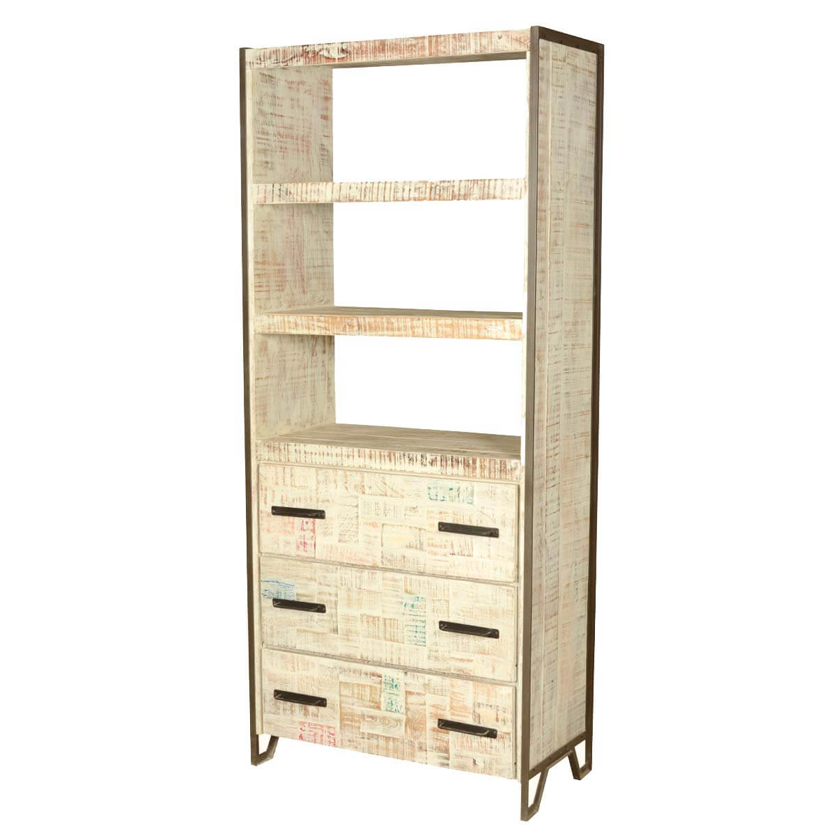 Vallejo 3 Open Shelf Industrial Solid Wood Bookcase With Drawers