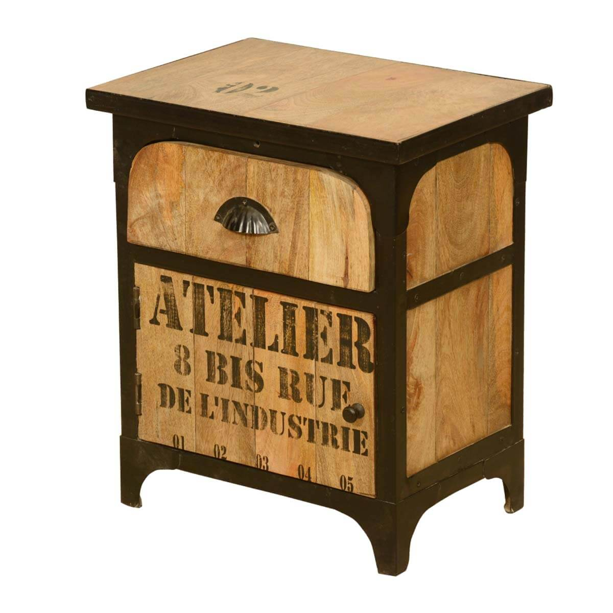 Industrial Shipping Crate Mango Wood & Iron Nightstand End Table