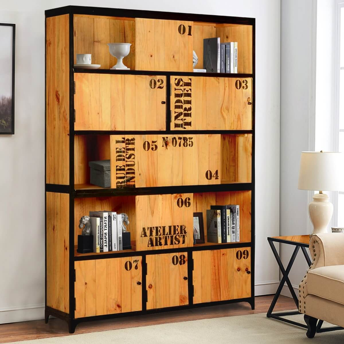 Abilene Industrial Solid Wood Siding Door Wide Bookcase