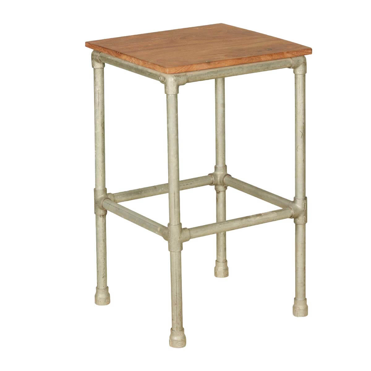 Simply Acacia Wood Industrial Square End Table