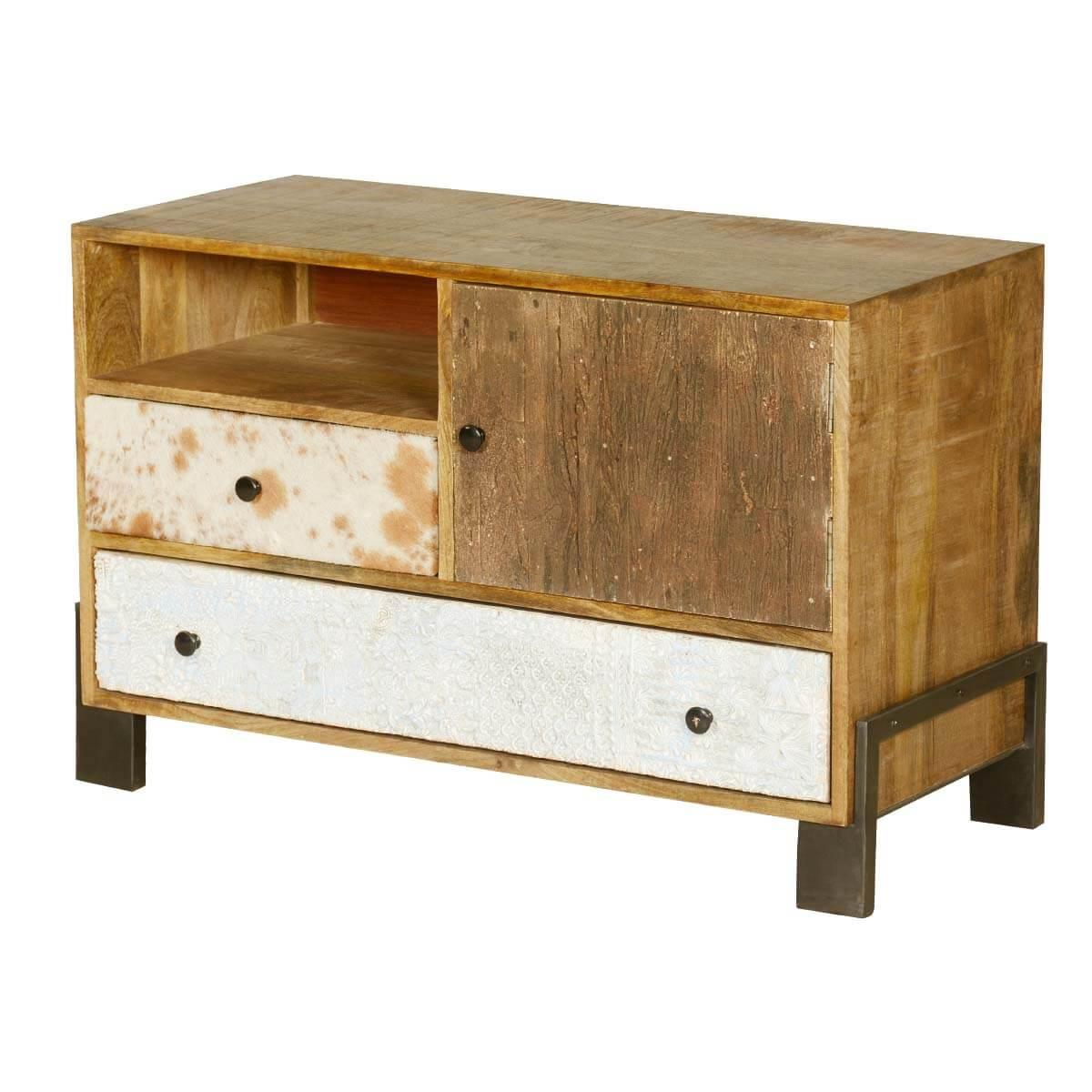 60's Retro Mango Wood & Iron 4 Compartment 2 Drawer Chest