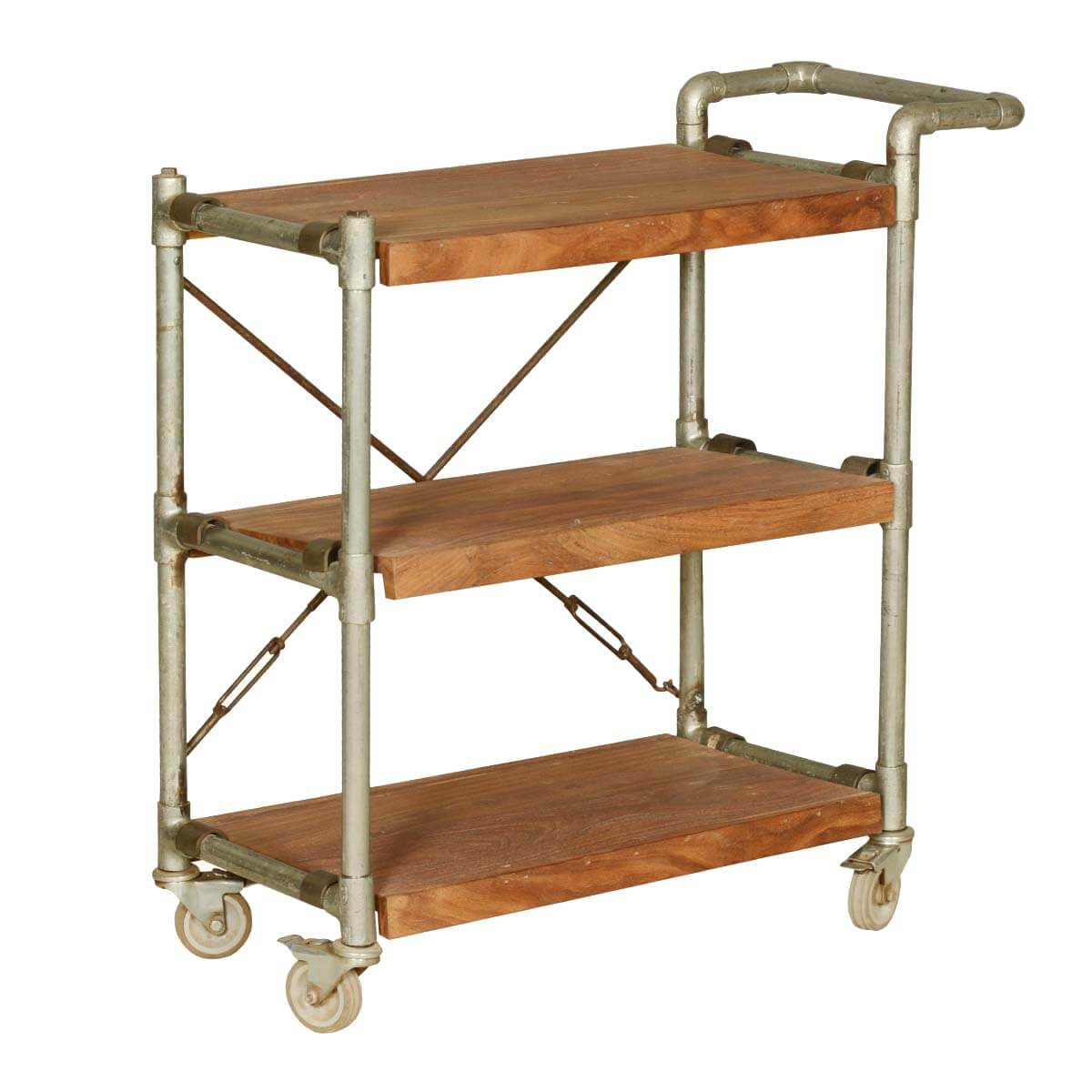 Industrial Mango Wood & Iron 3-Tier Rolling Tea Cart w Handle
