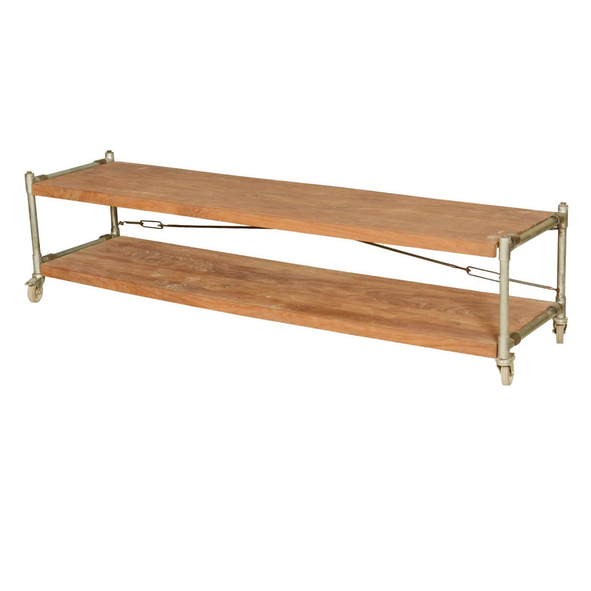 Industrial Mango Wood & Iron 2-Tier Rolling 71 Bench