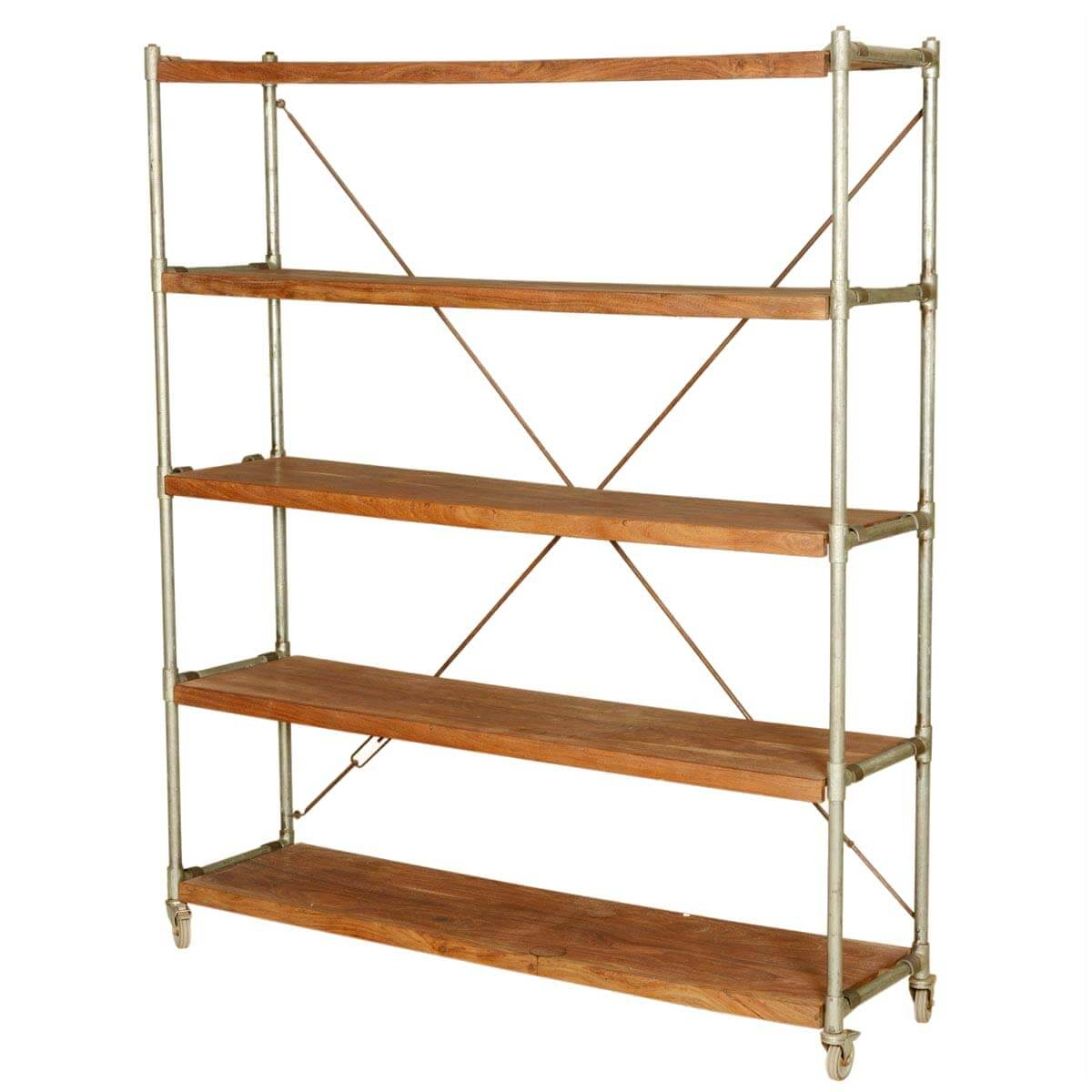 Evansville 5 Open Shelf Rustic Large Solid Wood Etagere Bookcase