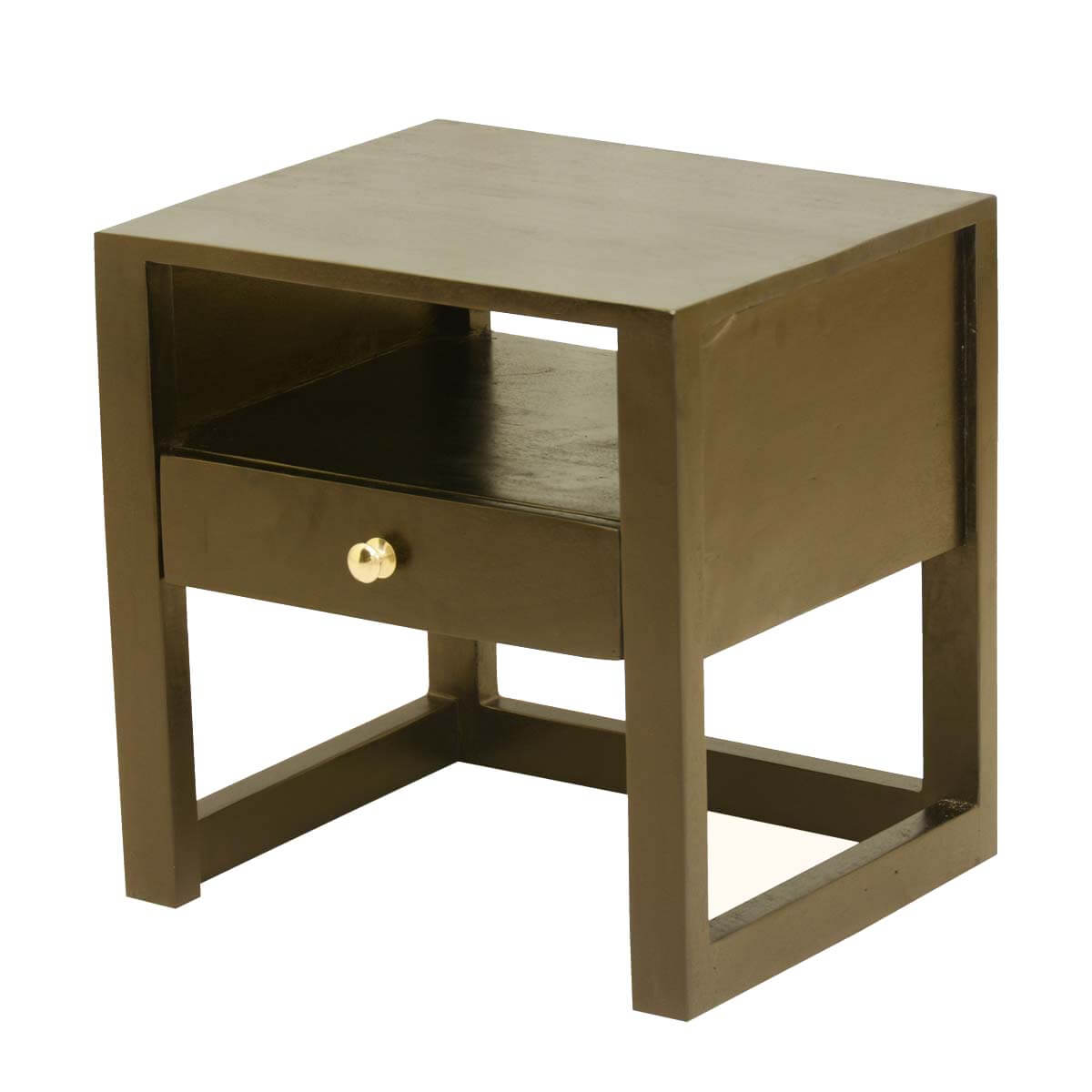 New Age Mango Wood Open Shelf 1 Drawer Nightstand