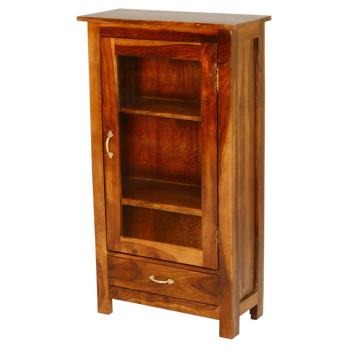 Pinellas Solid Wood Single Glass Door 1 Drawer Curio Cabinet