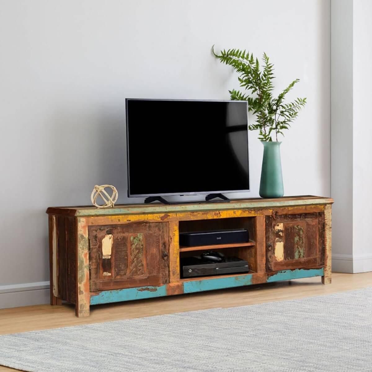 Bienville Retro Style Reclaimed Wood Media TV Stand 2 Door Cabinet