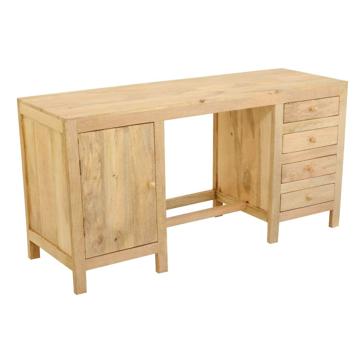 Contemporary Mango Wood Double Pedestal Desk