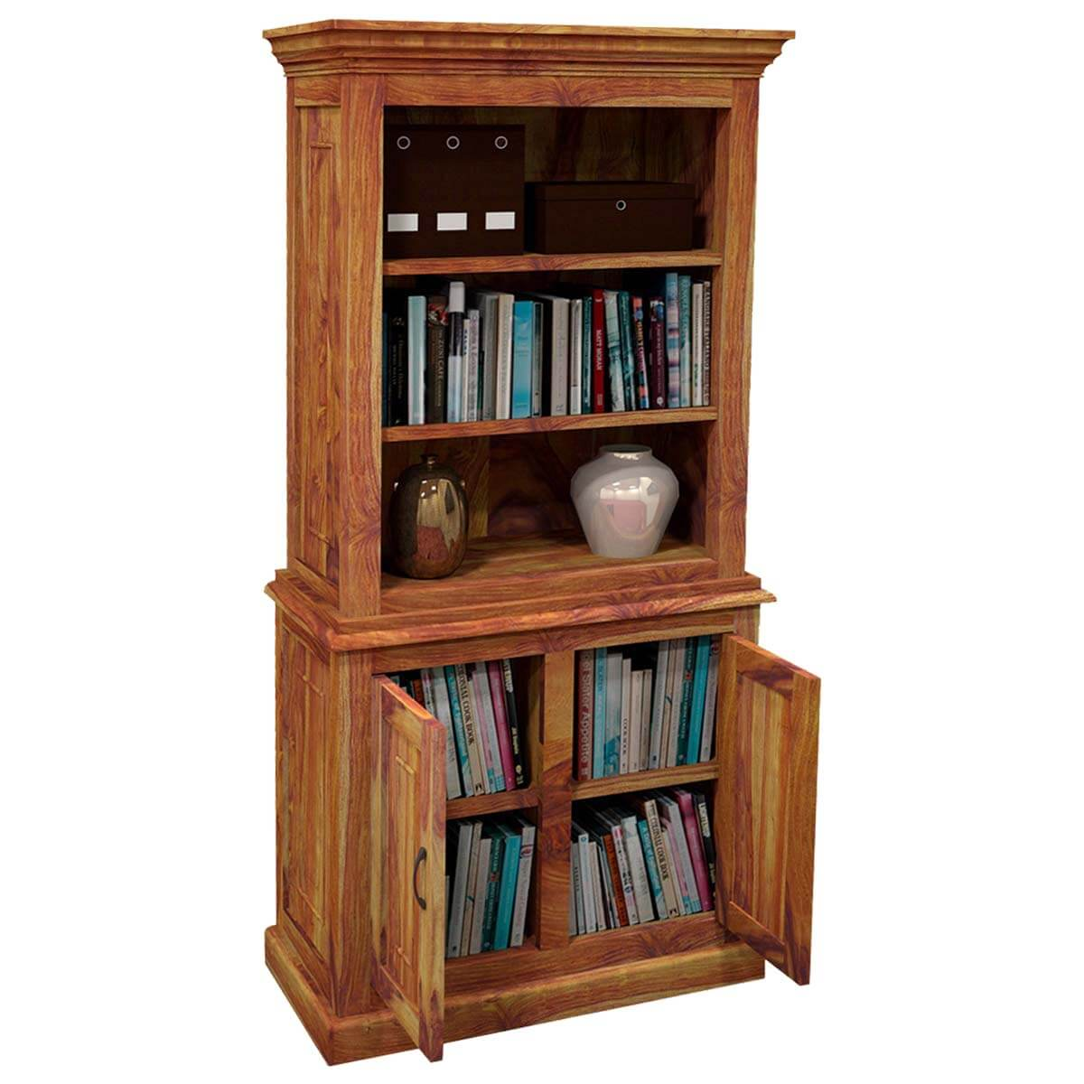 Idaho Modern Solid Wood 3 Open Shelf Bookcase Hutch