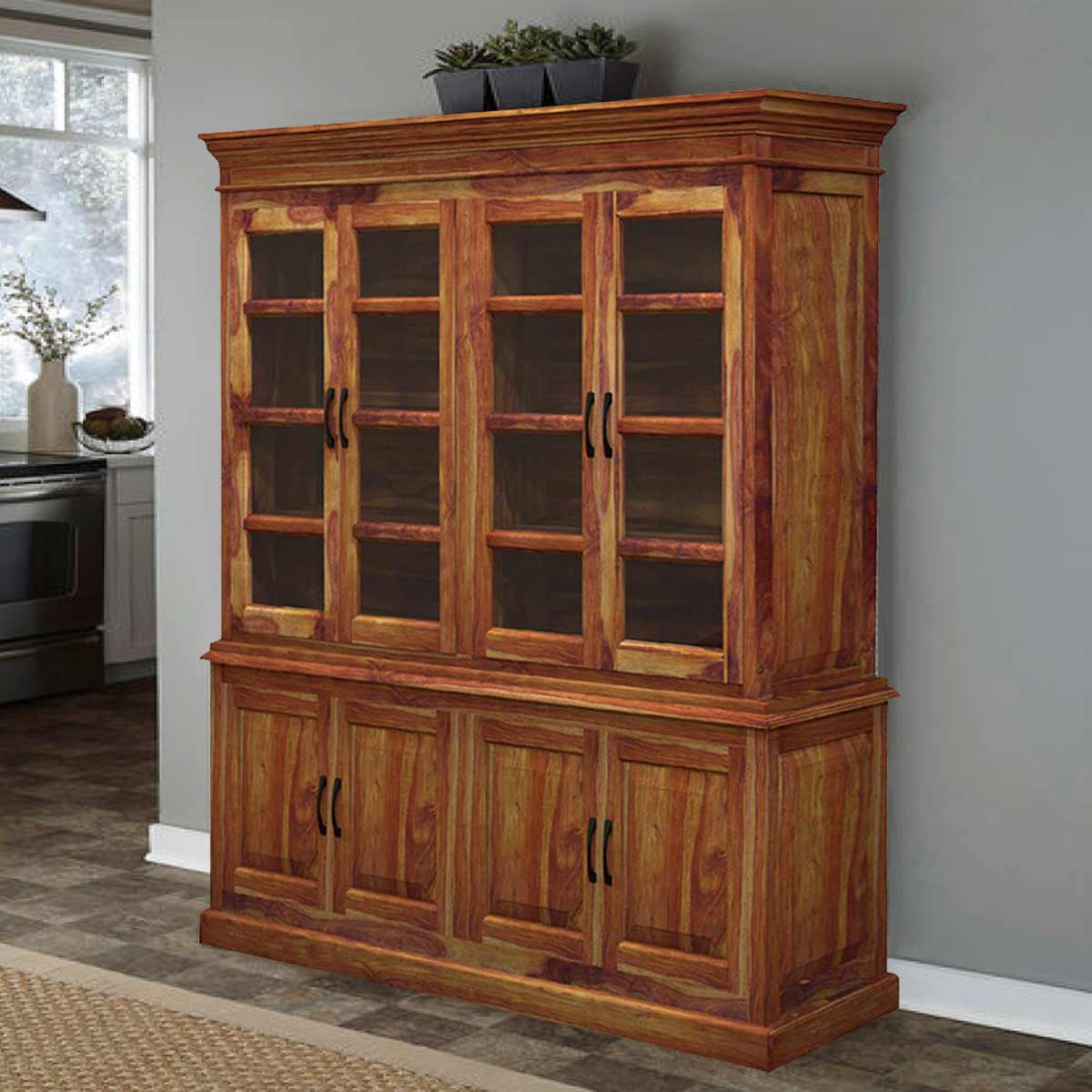 Rustic Kitchen Hutch: Oklahoma Rustic Solid Wood Glass Door Large Kitchen Hutch