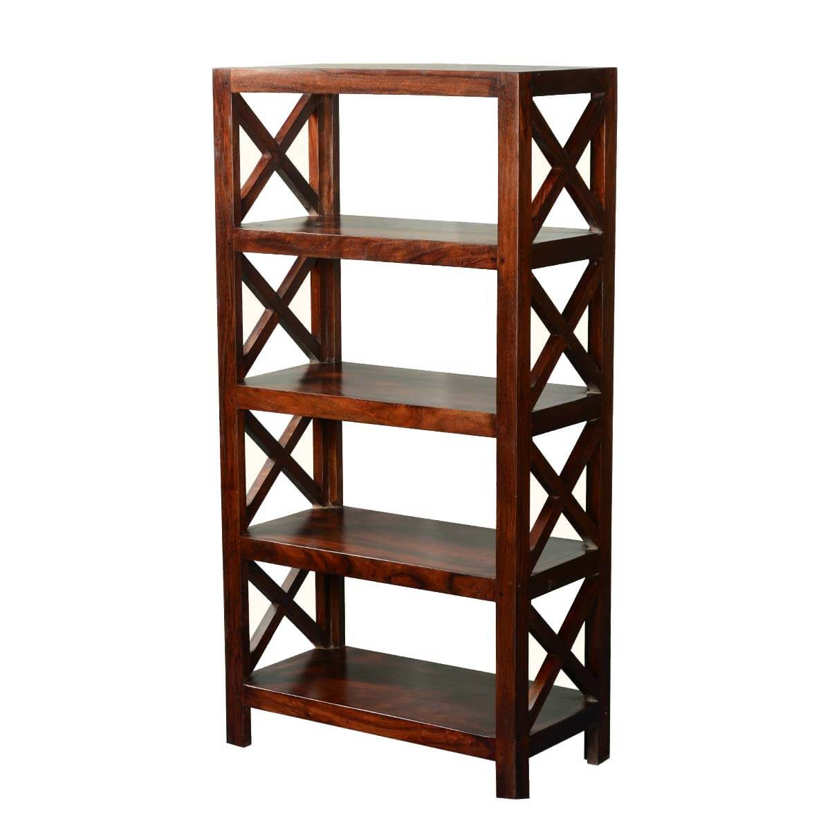 El Cajon 4 Open Shelf Rustic Solid Wood Office Bookcase