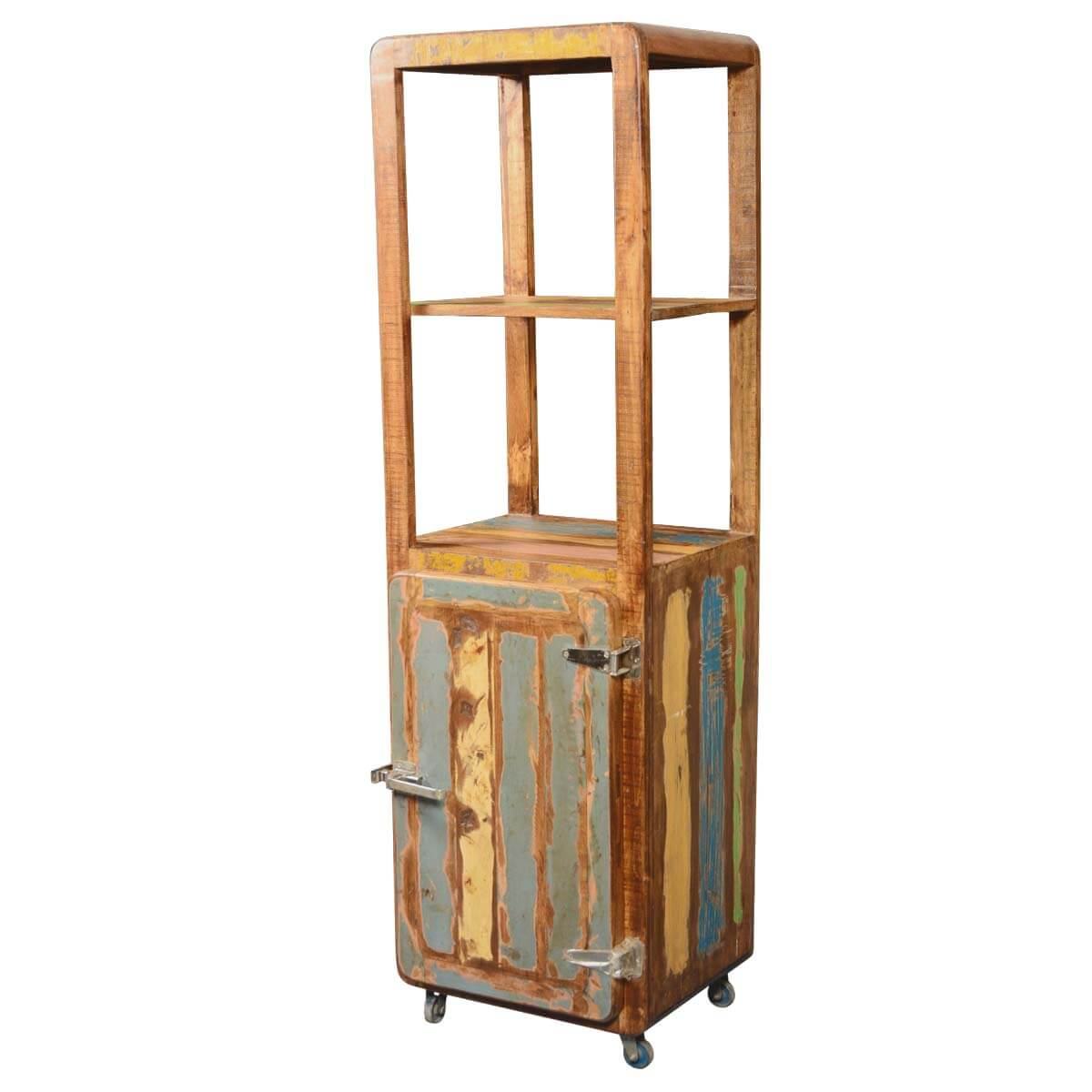Color Stripes Reclaimed Wood Rolling Cabinet Cart w Display Shelves