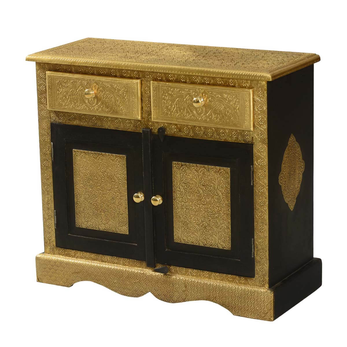 Golden Splendor Mango Wood Brass Inlay 2 Drawer Storage Cabinet