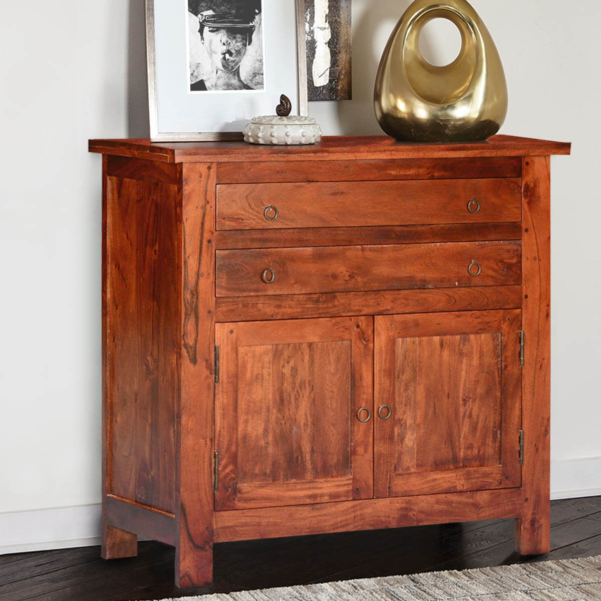 Mission Classic Acacia Wood Buffet Sideboard Cabinet