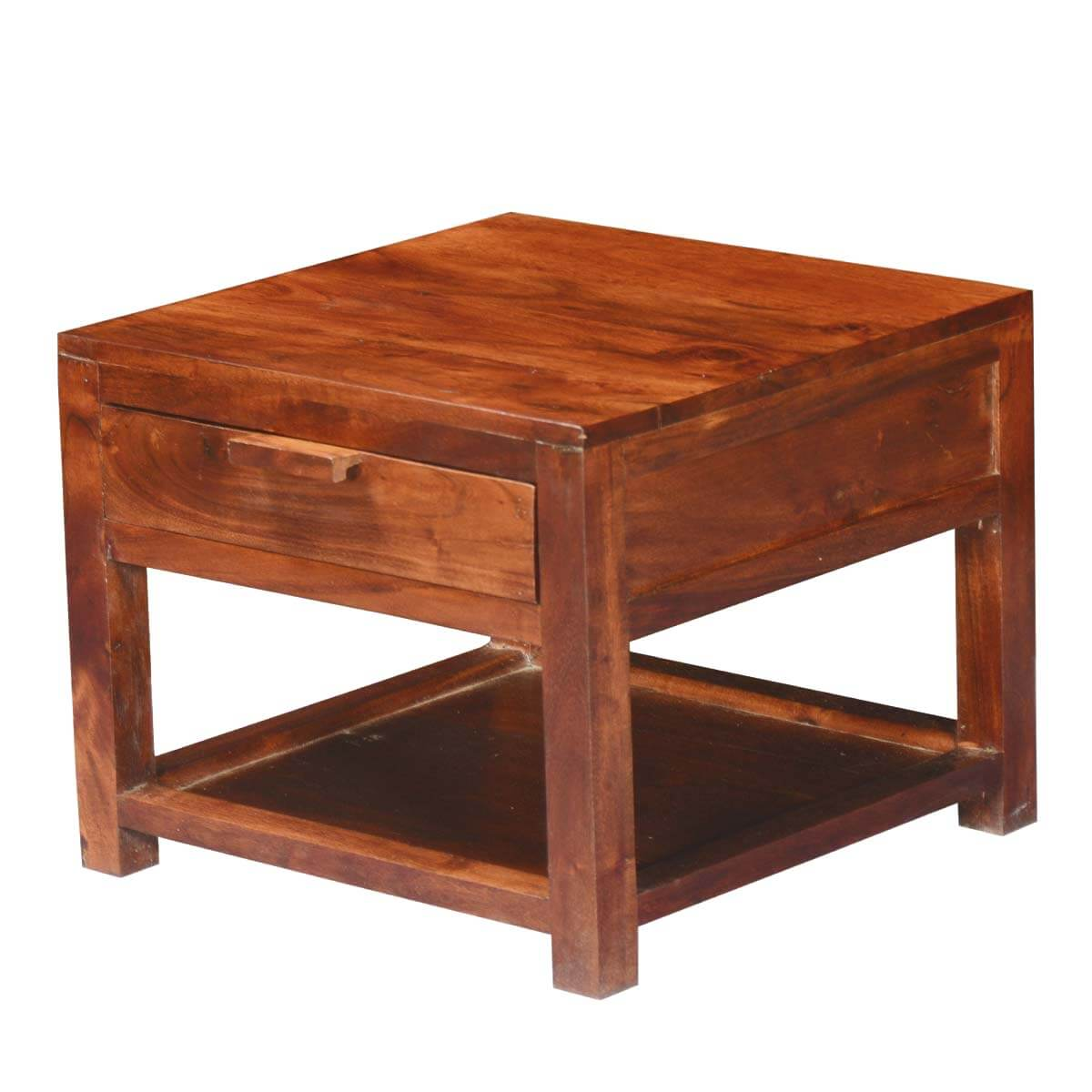 Rustic Simplicity Acacia Wood Square 2 Tier Small Side Table w Drawer