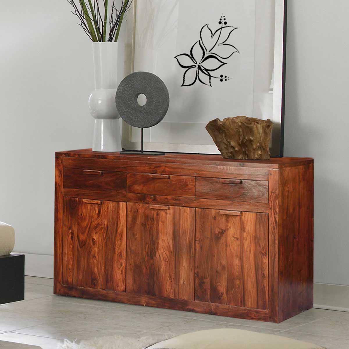 Modern Simplicity Acacia Wood 3 Drawer Large Sideboard Cabinet