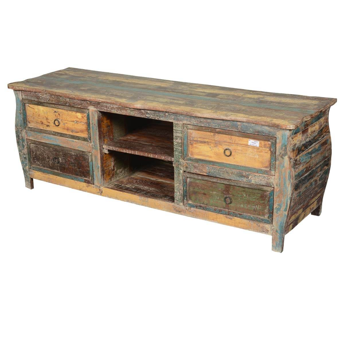 Late Colonial Reclaimed Wood Rustic Kettle Base TV Media Cabinet