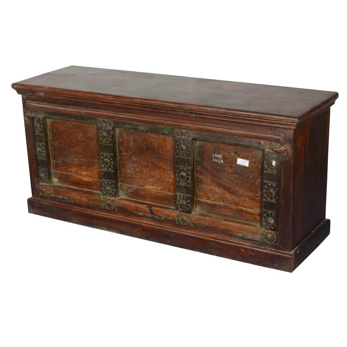 Camelot Treasure Reclaimed Wood Drawbridge Door Bench Chest