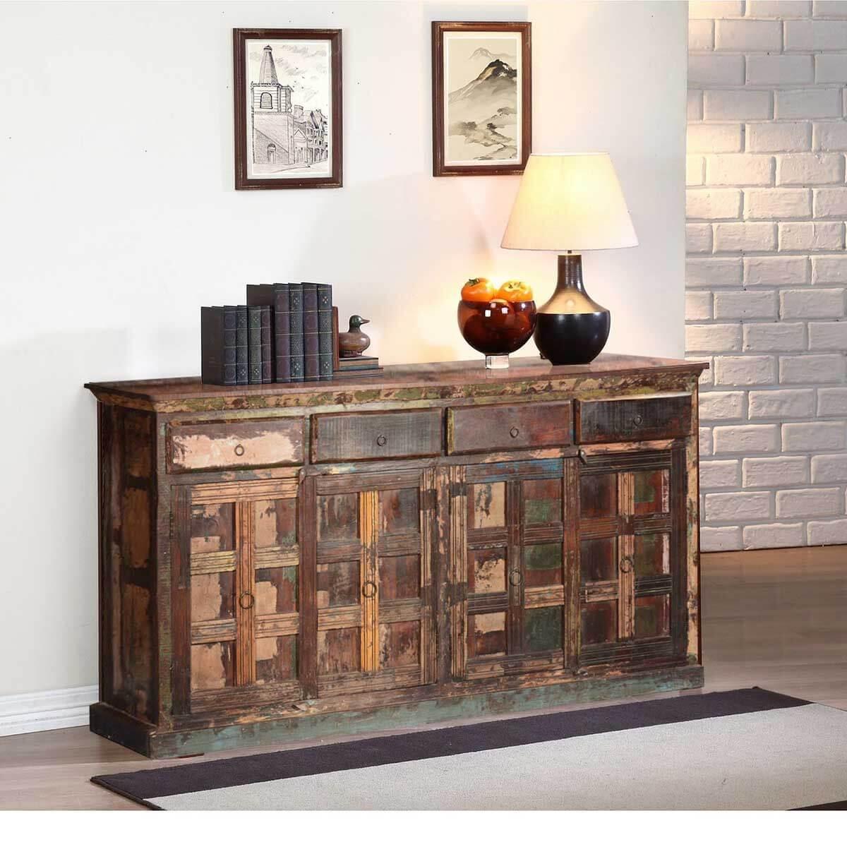 Owen Rustic Reclaimed Wood 4 Drawer Extra Long Sideboard Cabinet